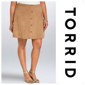 NWT Torrid Faux Suede Button Mini Skirt